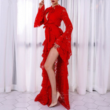2017 Elegant Red Autumn Celebrity Party Dresses Vestidos Festa Women Dress Sexy Photography Hollow Out Long Sleeve Lace Dress(China)