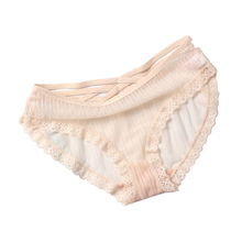 Buy New Pattern Woman panties Crossing Bring Sexy Intimates Lace Joint Comfortable underwear Low-waisted Hollow briefs