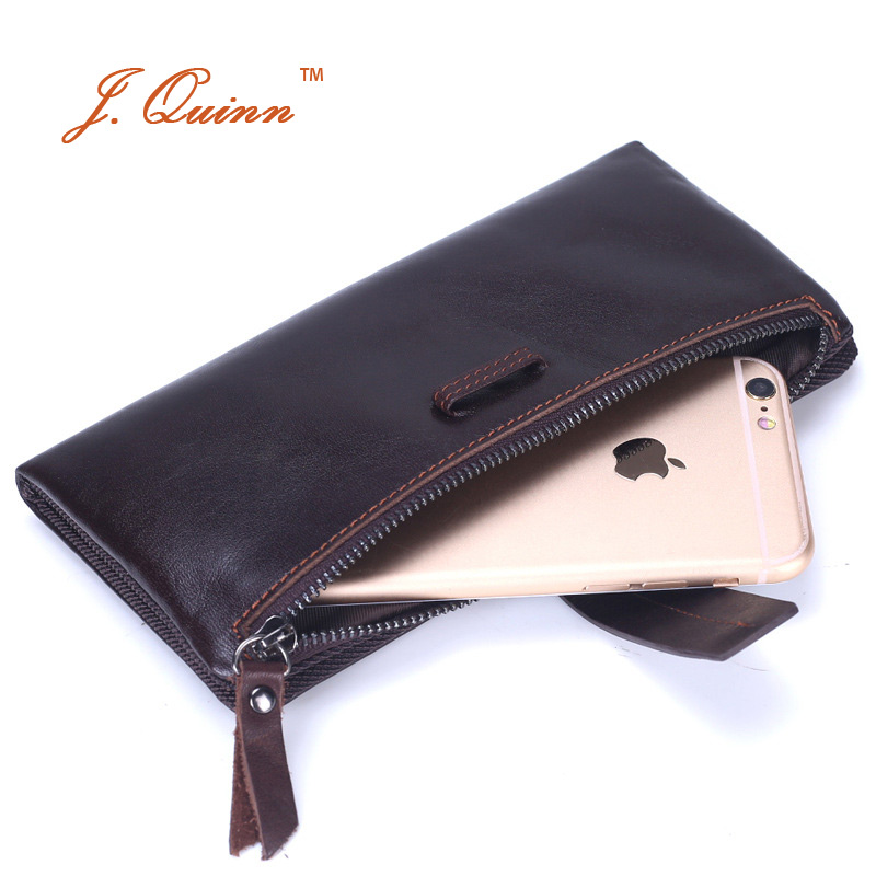 J.Quinn 2017 Genuine Cow Leather String Male Wallet with Phone Zipper Coin Pocket Long Mens Korea Handbag Clutch Wallets for Man<br>