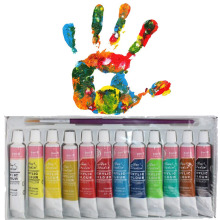 Creative 12 Colors Professional Acrylic Paints Set Hand Painted Wall Painting Textile Paint Brightly Colored Art Supplies