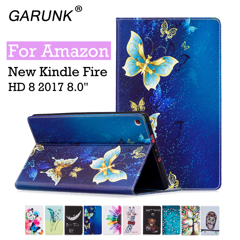 For Amazon Kindle Fire HD 8 2017 Case Bracket Stand PU Cover Painted Coque for Amazon Kindle New Fire HD8 2017 Flip Case(China (Mainland))