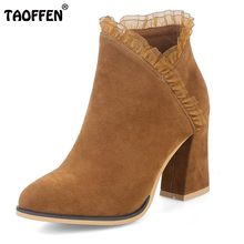 TAOFFEN Size 34-43 Ladies High Heel Boots Zipper Solid Color Thick Heels Boot Office Lady Daily Dating Winter Female Warm Botas(China)