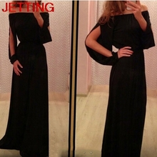 JETTING-New Fall Summer Black Slash Neck Women Dress Vintage Empire Long Floor Length Dress For Women Fashion Women Clothing