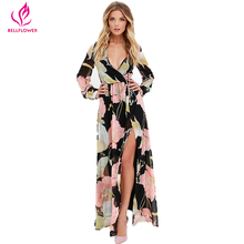 Buy 2017 Summer Beach Dress Women Floral Print V Neck Sexy Dress Elastic High Waist Loose Split Dresses Bohemia Dress Vestidos Mujer for $15.34 in AliExpress store
