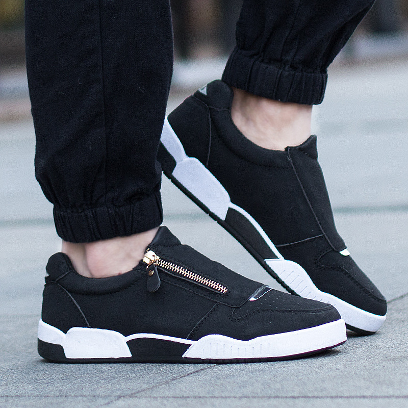 Hot 2017 New Spring/Autumn Men Casual Shoes Fashion Korea Canvas Shoes Soft Men Shoes Breathable Zipper Men Flats Size39-44<br><br>Aliexpress