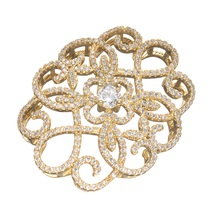 Top Quality Copper Crystal Filigree Flower Wraps Connectors Embellishments Findings Micro Pave Jewellery Accessories 44*34mm