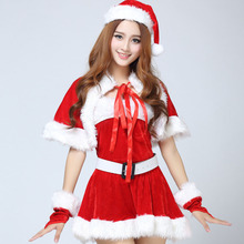 Fashion Cloak Miss Santa Claus Christmas Costumes Dress New Year Festival Party Performance Uniform Adult Cosplay Sexy Lingerie