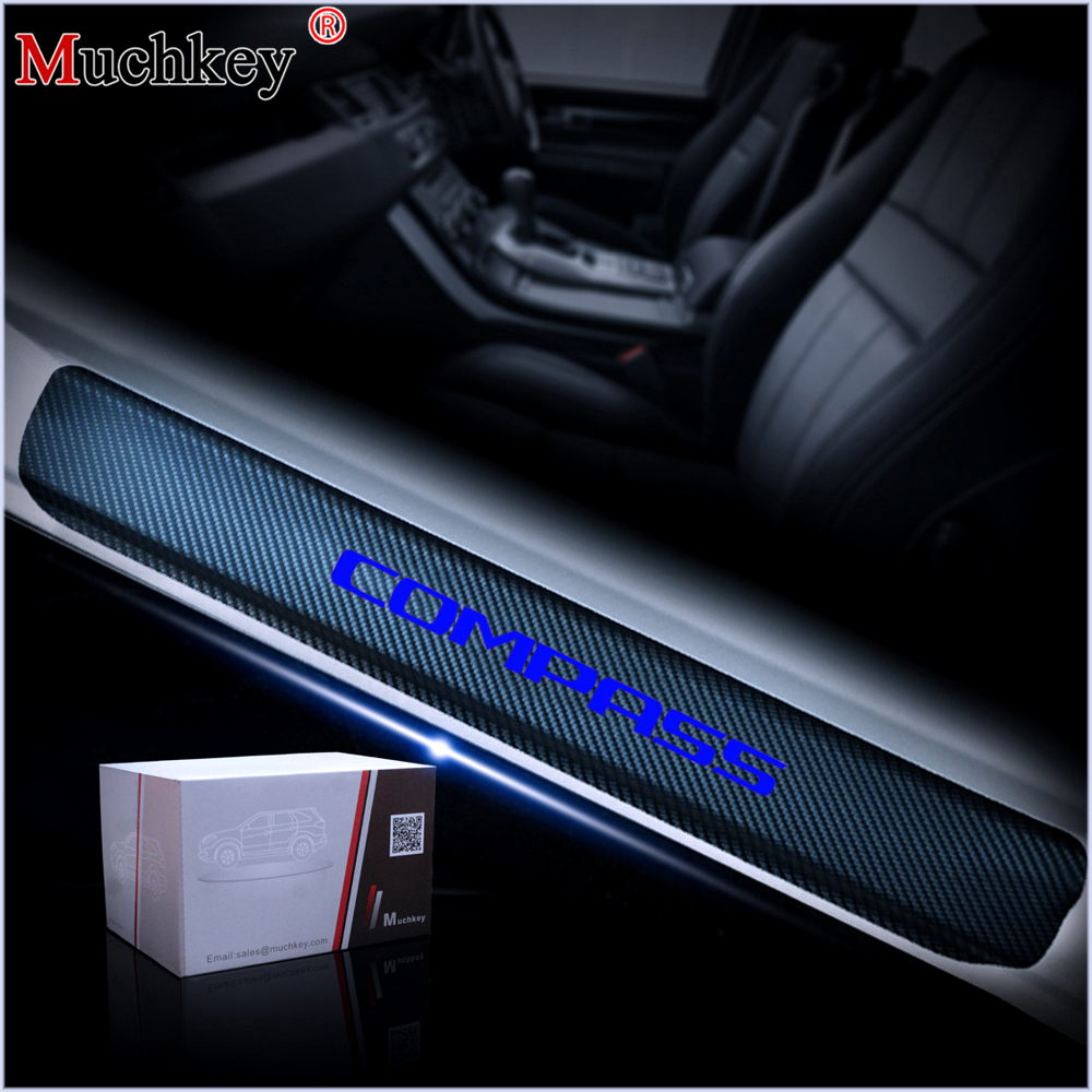 For Renegade 4PCS Car Door Sill Cover Carbon Sticker For Jeep Accessories