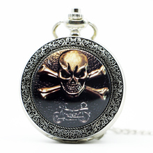 Hot Sale Punk Skull Pendant Red Dragon Skull Charm Pocket Watch Biker Jewelry Accessory Relogio De Bolso