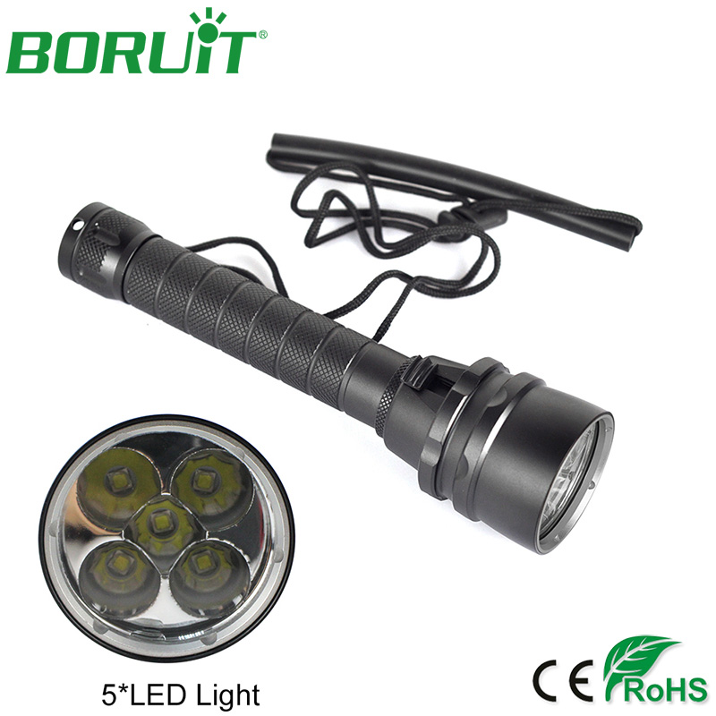 Boruit 50W 8000Lm 5 XM-L2 LED Scuba Diving Flashlight Underwater 100m Dive Torch Waterproof Lantern Light Lamp <br>