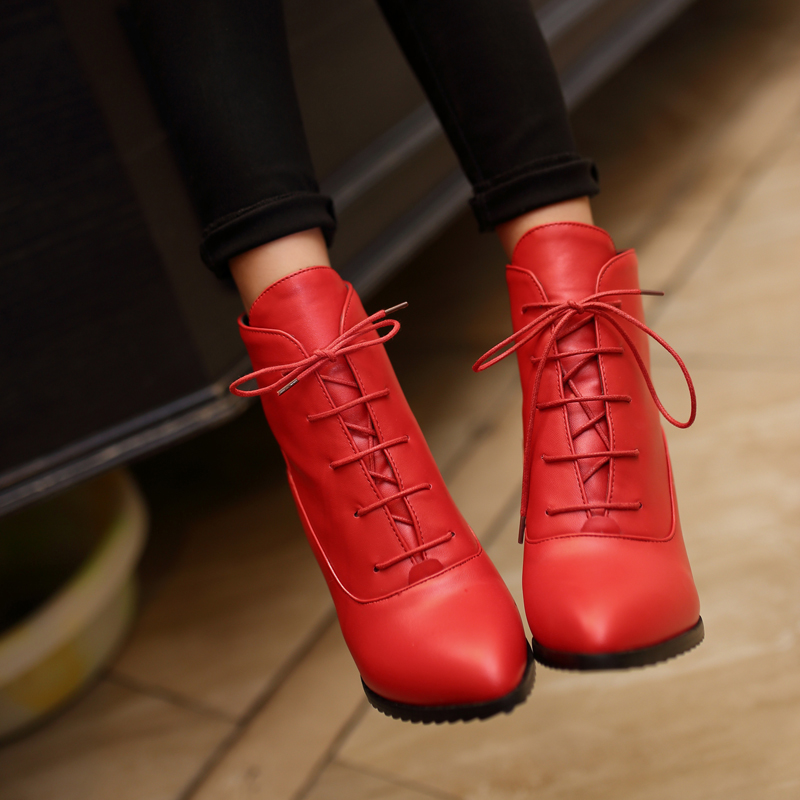 Big Size 34-43 New Design 2017 Fashion Lace Up Ankle Boots Elegant Square Toe Hoof Med Heels Shoes Woman Cozy Fall Winter Boots<br>
