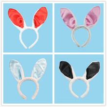 2017 Lovely Colorful Satin Rabbit Ears Headband Bunny Girl Hair Band Headdress For Women Lady Children Party Hair Accessories(China)
