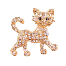 Women's Fashion Shining Rhinestone Brooch Cool Cat Pattern Decor Jewelry Hijab Scarf Broches Coat Sweater Clips Wedding Pins(China)
