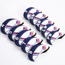 Golf Club Iron Head Cover Set 10pcs Neoprene  White With Blue US Flag Headcovers One size Fit All Irons Outdoor Golf Accessories