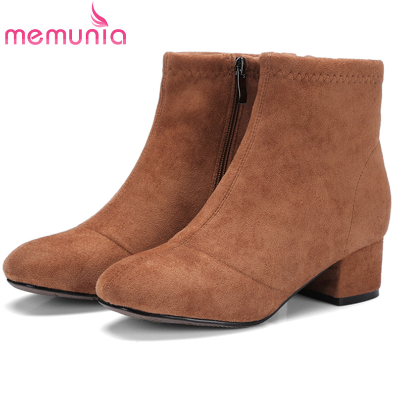 MEMUNIA Plus size 34-43 fashion boots med heels shoes ankle boots for women flock zipper solid womens boots spring autumn<br>