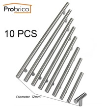 Probrico 10PCS Cabinet T Bar Handle Diameter 12mm CC 50mm~320mm Stainless Steel Furniture Drawer Knob Kitchen Cupboard Door Pull