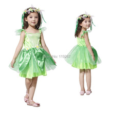 2017 New Novelties Green elf Sprite dress Leg Avenue Neverland Tinkerbell Garden Fairy kids Costume lovely woodland fairy dress(China)