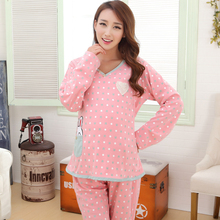 Fashion Maternity pajamas Clothes sets cotton maternity pajamas sets pregnant set pregnancy clothes for Pregnant Women(China)