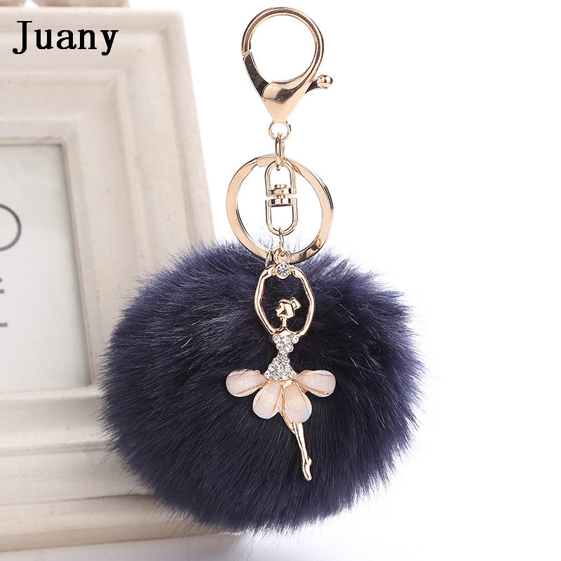 rabbit fur pompom key chain fake rabbit car keychain fur ball keychain pompom girl women charm bag  2