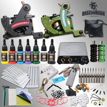 Professional Tattoo Kit 7 color Ink Power Supply 2 Machine Guns HW-1SMT
