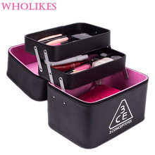 Fashion Brand of Women Black Leather Cosmetic Bags High Capacity Beautician Necessarie Cosmetic Storage Professional Makeup Bag