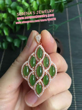 real 925 sterling silver Marquise shape 4*8/pc natural China green jade pendant whole size 26*36mm(China)