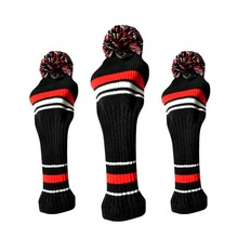 3Pcs One Set Black white Wool Knit Golf Clubs Set Driver Fairway Wood headcovers Covers Outdoor