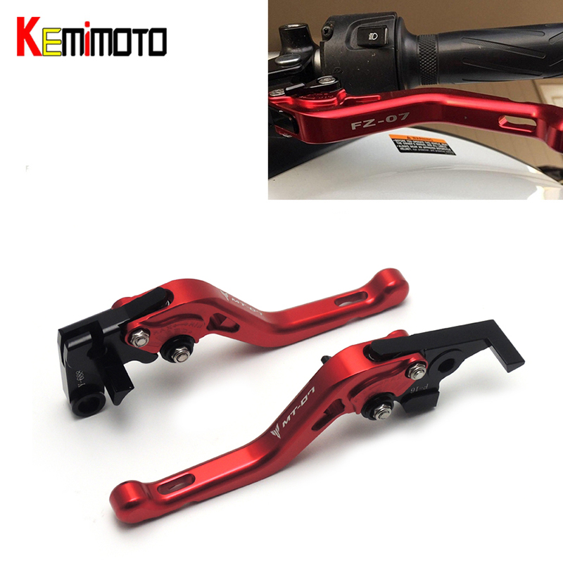 KEMiMOTO CNC Motorcycle accessories Short Brake Clutch Levers for YAMAHA MT-07 FZ-07  MT 07 MT07 2014 2015 2016 2017<br>