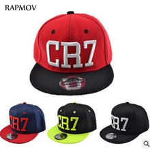 Fashion Children snapback caps Cristiano Ronaldo CR7 Black Baseball Caps hip hop Sports Snapback Football hat boy girls