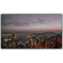 New York Hong Kong World City Building Night Landscape Poster Print Silk Canvas Fabric Home Decoration Wallpaper FJ283