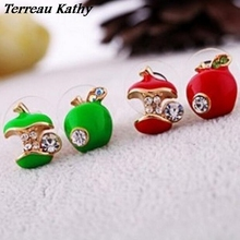 Terreau Kathy 2016 New Wholesale Fashion Rhinestone Red And Green Color Apple Womens Cheap Earrings For Women