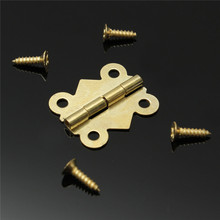 Best Promoiton 10pcs Fashion Design Brass Color Mini Butterfly Hinges Cabinet Drawer Jewelry Box DIY Repair(China)