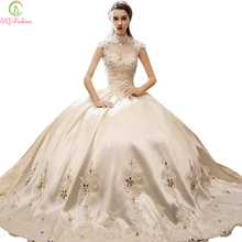 Vestido De Novia Retro Palace SSYFashion Princess Bride Wedding Dress High Collar Luxury Satin Lace Flower Long Ball Gown Custom