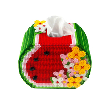The New Manual Cross Stitch Kit Set Tissue Box 3D Cartoon Cross Stitching Embroidery Box Watermelon Paper Towel Box DIY Artwork