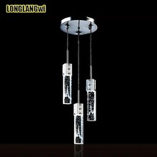 Free shipping Modern minimalist led three creative crystal Pendant Lights lighting bubble column Bar Interior Lighting