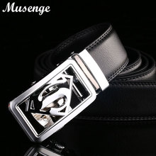 MUSENGE Belt Superman Leather Belt Men Ceinture Homme Designer Belts Men High Quality Automatic Buckle Cinto Masculino Mens Riem