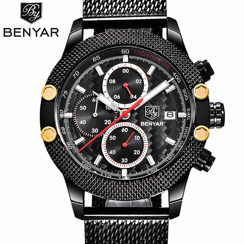 2017 Luxury Brand BENYAR Fashion Sport Chronograph Watches Men Multifunction Business Waterproof Quartz Watch Relogio Masculino<br>