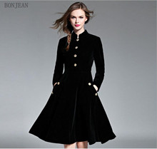 Women Dress Full Hot Sale Free Shipping Europe And America New Autumn 2018 Soft Comfortable Warm Temperament Slim Put Velvet(China)