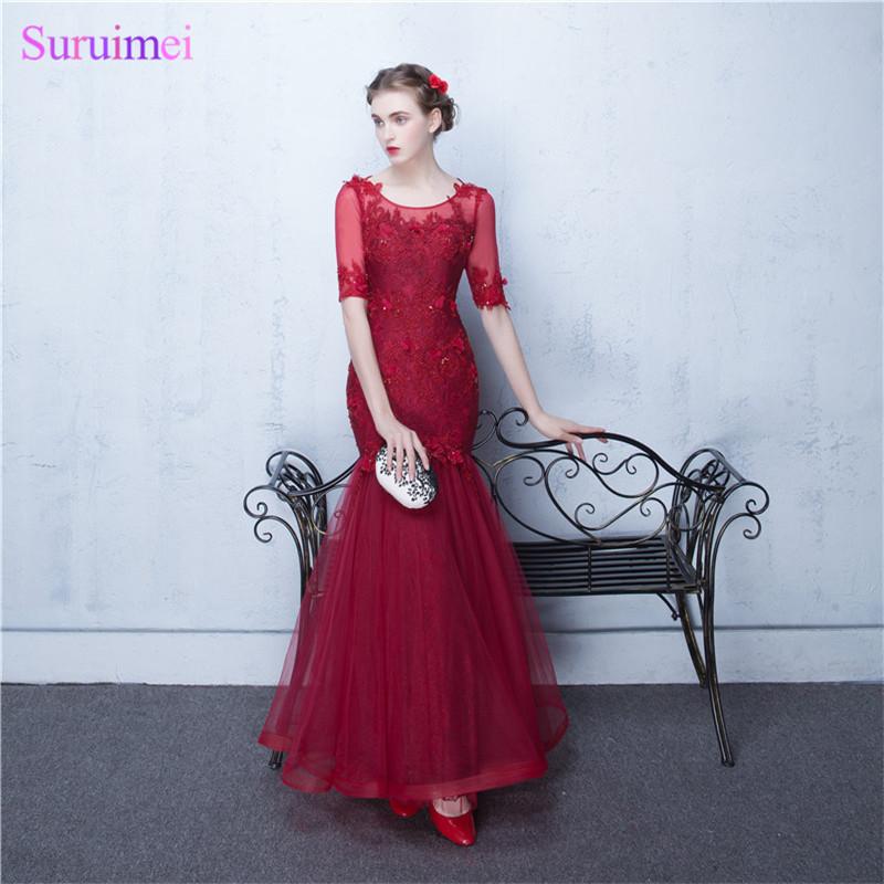 8 Free shipping V Neckline V Back Hot Red Color Half Sleeve Evening Dresses 2017 Winter Mermaid Evening Party Dress Women