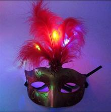 10pcs/lot Multi Color Halloween LED feather Mask toy party flash mask glow blinking feather masquerade masks toy decor supplies