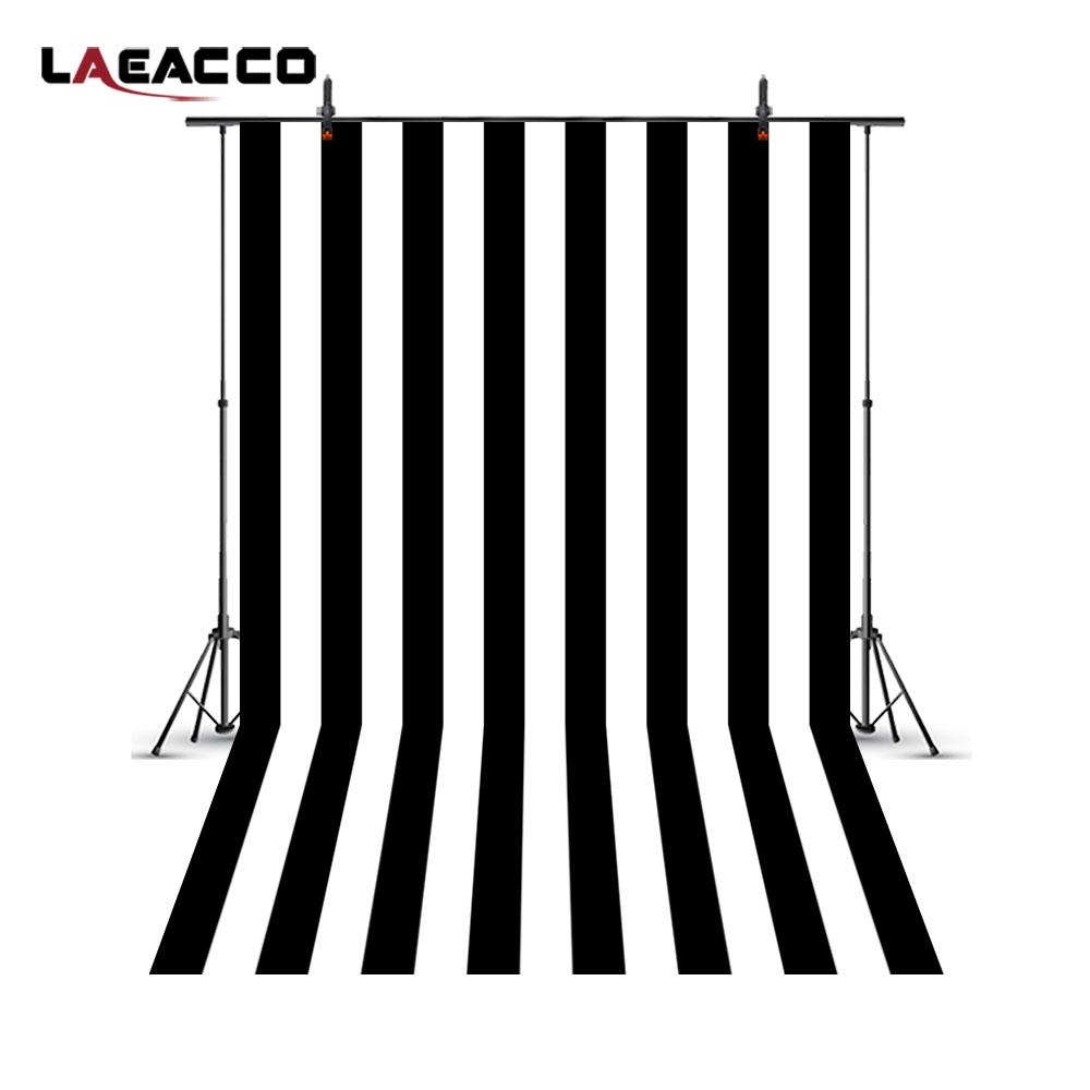 Laeacco White Black Stripes Photography Backgrounds Custom Vinyl Children Portrait Photographic Backdrops Photo Studio