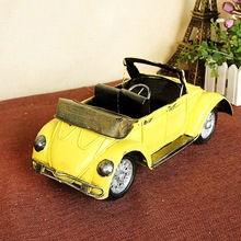 Iron Car Model Beatles Model Car Wrought Iron Wares Red/Yellow(China)