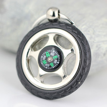 Creative Rubber Wheel Rim Tyre Tire Compass Keychain Automotive Accessories Key Chain Ring Keyring Keyfob(China)