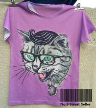 Track Ship + New Summer Fresh T-shirt Tee T Top Tee Purple Organized Crime Glasses Necklace Cool Cat 0296(Hong Kong)