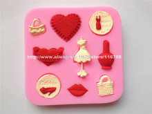 Free Shipping Fondant Cake 9-Cavity Ladies Related Silicone Mold Sugar Paste Sugar Art Tools Cake Decoration Wholesale & Retail