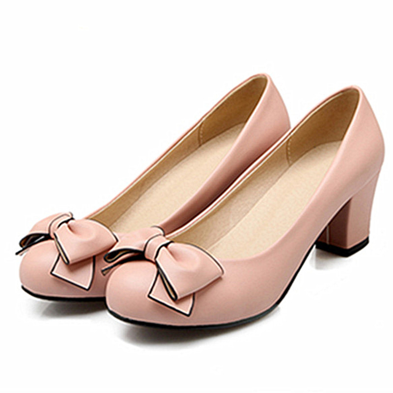 shoes women Lolita pumps sweet low-heeled pink pumps woman fashion Big Bow thick high heels shoes Ladies Boats leather shoes <br><br>Aliexpress