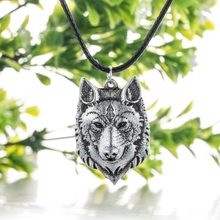 Wolf Head Necklace Pendant Animal Power Norse Viking Amulet Necklaces Pendants Men Women Gift Jewelry Antique Silver(China)