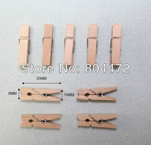 100 units 35 mm mini Craft Natural Wood Spring Clip for Wedding & Party supplies Decorations