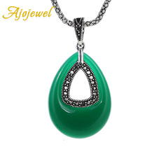 Ajojewel Water Drop Stone Big Green Necklace Women Vintage Antique Jewelry 2017 Trendy Necklaces & Pendants