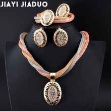jiayijiaduo African beads Bridal Crystal Jewelry Sets Necklace Set for Womens clothing accessories Gold color Conversations(China)